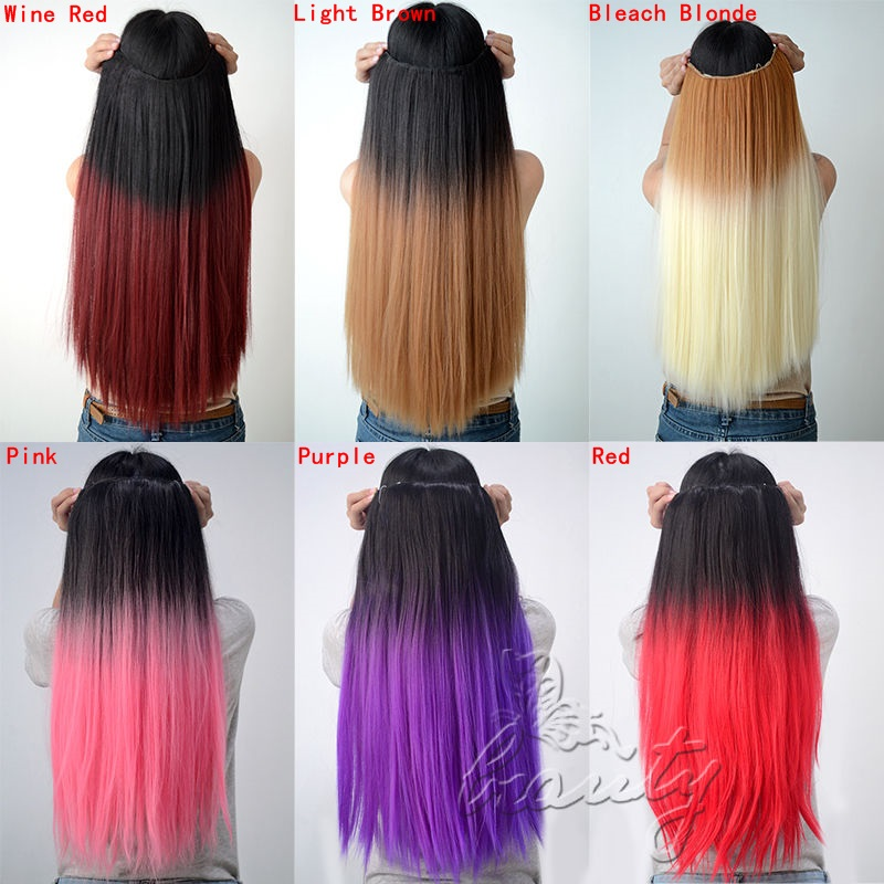 New 24 60cm Synthetic Clip In Hair Extensions Straight Hairpiece