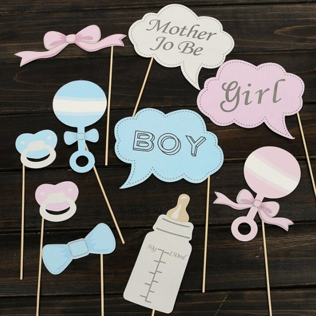 Hot 10pcs Party Gifts Photo Booth Props Diy Bottle Baby Shower Boy