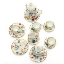 1:12 Mini Colorful Floral Ceramic Tea Set Doll house Furniture Dining Ware Dish Cup Plate Ornaments Figurines Gadget Craft
