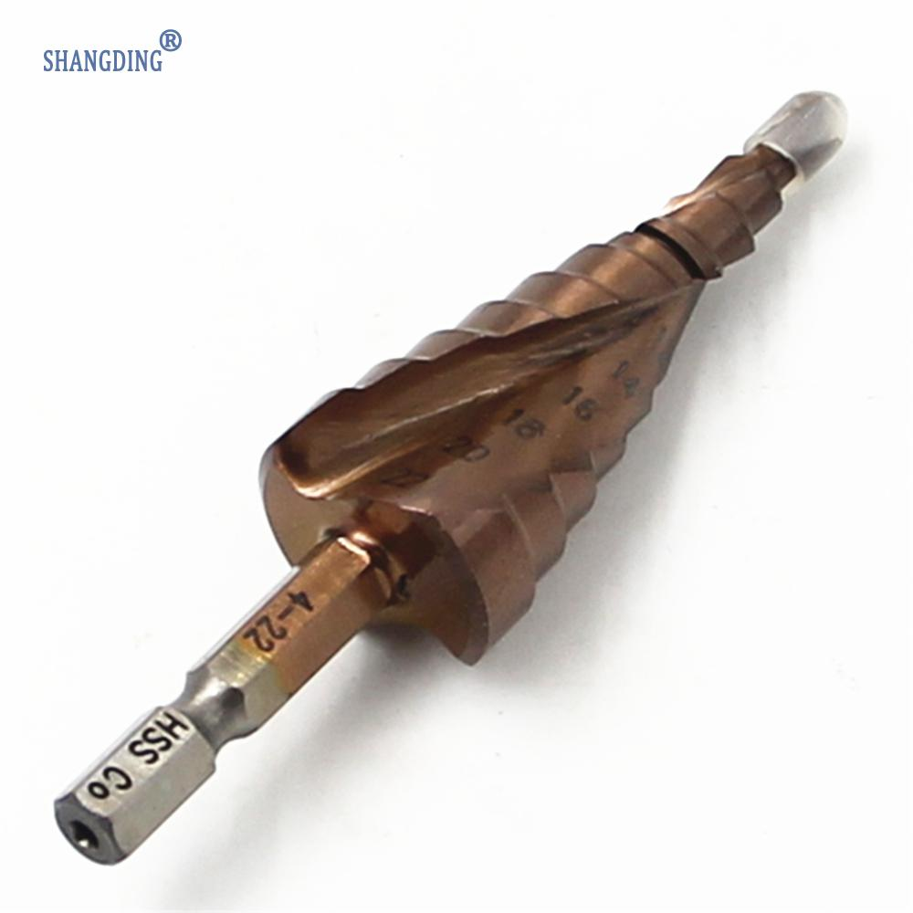New M35 HSS-CO Step Drill Bits 4-22mm metalworking Spiral groove 1/4'' hex Shank Stainless steel tapping Cobalt plating hss step drill bits 4mm 32mm spiral groove power tools 1 4 hex shank wholesale price 15 steps metal drilling w329