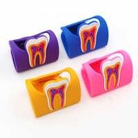 4 pcs Titular do Cartão De Forma Dentes Dental Molar Teeth Forma Clínica Dentista Presente Colorido Bonito Nome de Armazenamento Do Cartão De Borracha Dental titular