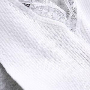 Image 4 - Liso De mujer Sexy camisola encaje empalme doble Chaleco con cuello en V Slim Sling camisola