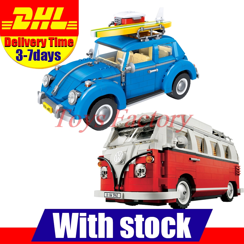 DHL LEPIN 21001 T1 Camper Van + LEPIN 21003 Beetle Building Blocks Bricks Toys Gifts Cloen 10220 10252 lepin 21003 series city car beetle model building blocks blue technic children lepins toys gift clone 10252
