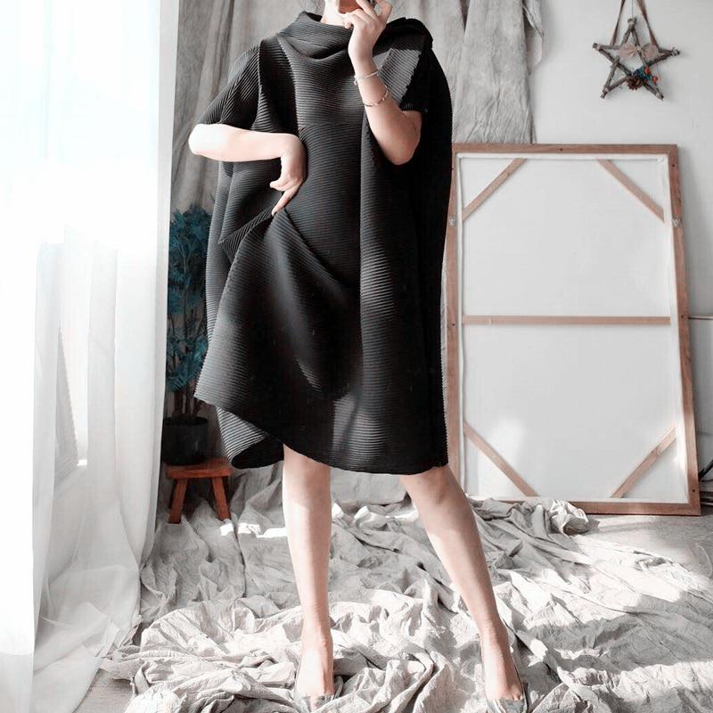 Chnagpleat 2019spring Summer Loose Plus Size Women dress Miyak Pleated Fashion Solid Short Sleeve Stand Collar Female Dress Tide