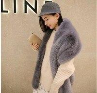 Lady Blinger wide fur pashimina fake fur collar faux fox fur scarf raccoon fur shawl winter female fashion large wraps