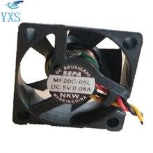 MF20C-05L DC 5 В 0.08A 2008 2 см 20*20*8 мм 3 провода 7700 об./мин. гидравлический маршрутизатор преобразование небольшой вентилятор охлаждения
