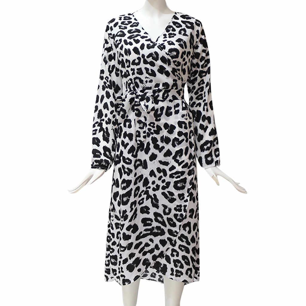 Moda kadınlar Casual uzun kollu leopar baskı bölünmüş dantel Up v yaka uzun elbise kadın kış elbise kadın parti