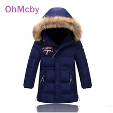 OhMcby Fashion Kids Boys Winter Long Down Jackets Outerwear Coats Big Fur Collar Thick Warm White Duck Down For 4-11T Children