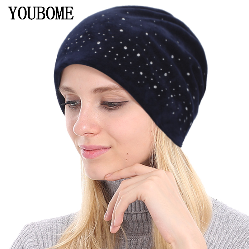 YOUBOME Skullies Beanies Hats Women Winter Hats For Women Rhinestone Bonnet Velvet Lady Caps Autumn Female Beanie Knitted Hat