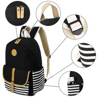 Backpack Women Large Capacity Fashion Simple School Backpack Girl 3PC Ladies Canvas Laptop Striped Backpack K716