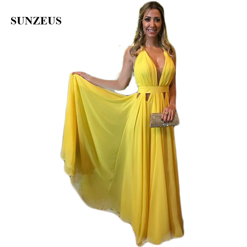 Yellow Chiffon Halter   Bridesmaid     Dresses   Long A-Line Keyhole Waist Sexy Wedding Party   Dress   for Girls Backless Prom Gown SBD136