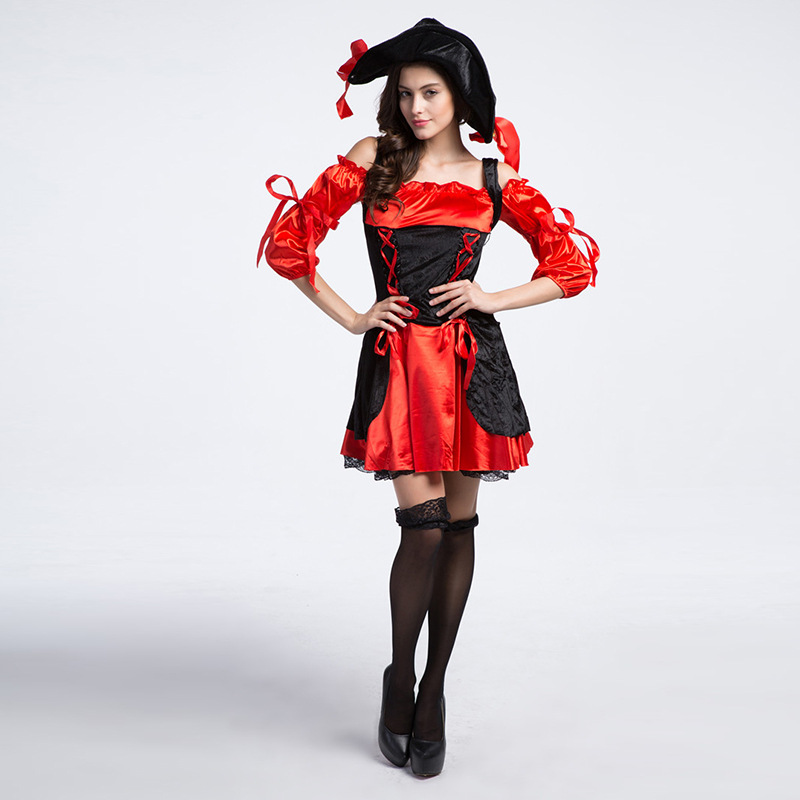 Halloween party women red Pirate costumes  Performance game cosplay for girls Free shipping