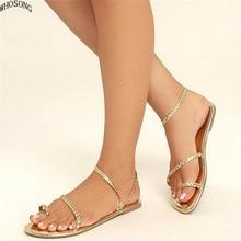 цены WHOSONG  Women Sandals Summer Women Flip Flops Weaving Casual Beach Flat With Shoes Rome Style Female Sandal Low Heels M58