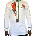 African tops private custom africa clothing long sleeve shirt white cotton and print batik patchwork dashiki clothes