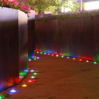 Solar Powered 6LED Outdoor Pathway Glass Road Step Lights Garden Green
