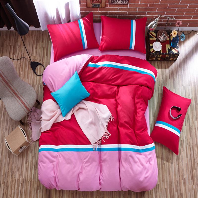 rosa color de rosa azul diseo de la muchacha de rayas ropa de cama juegos de
