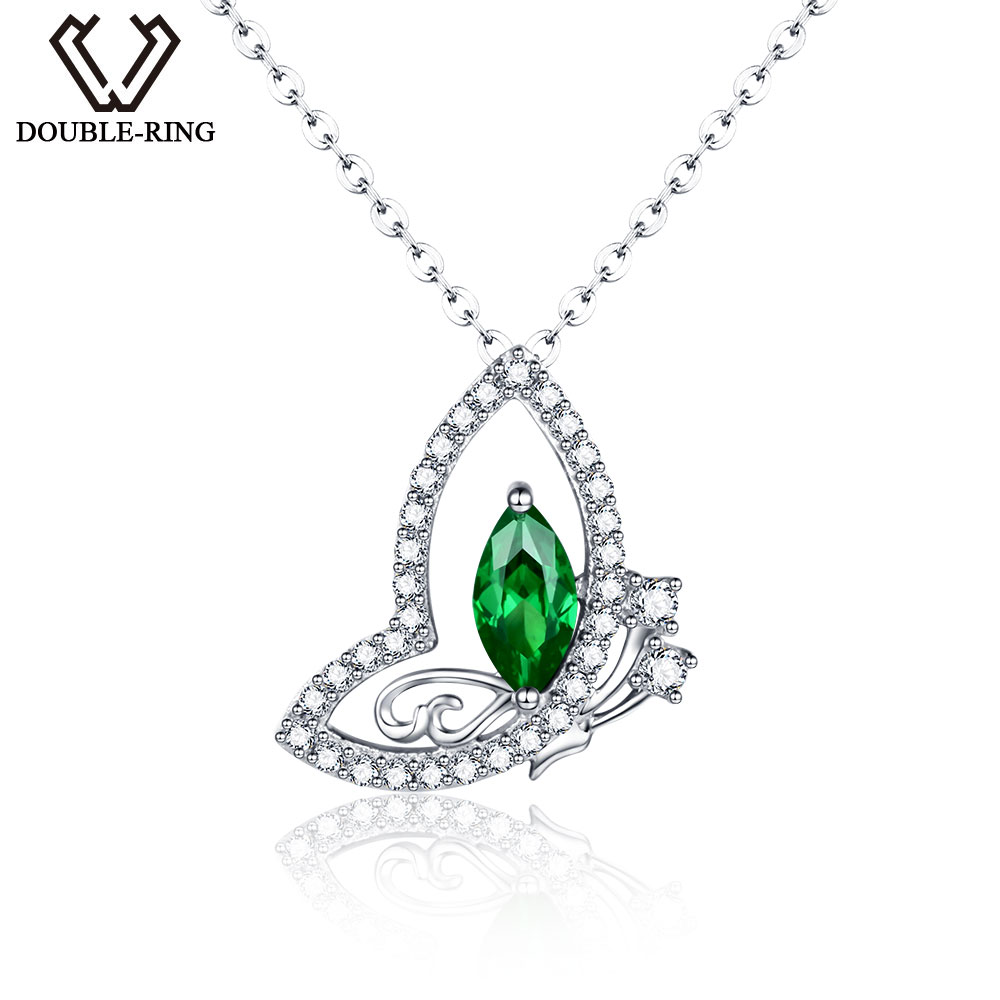 DOUBLE-R Classic Created Emerald Pendants Solid 925 Sterling Silver Heart necklaces Fine Band Jewelry for women
