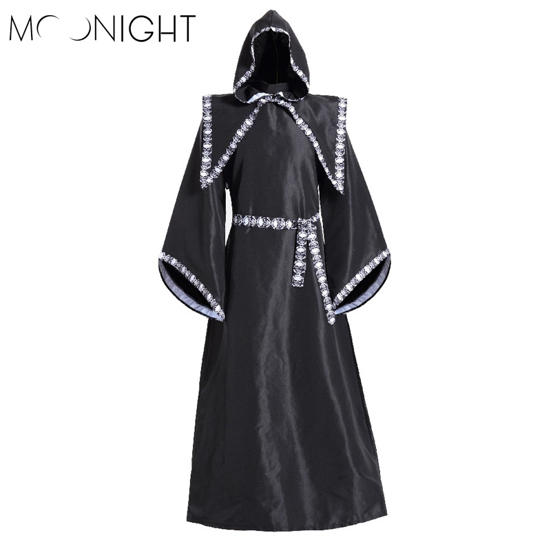 MOONIGHT Mens Halloween Costumes Adult Gothic Wizard Fancy Cosplay Costume European Religious Priest Robe Uniform