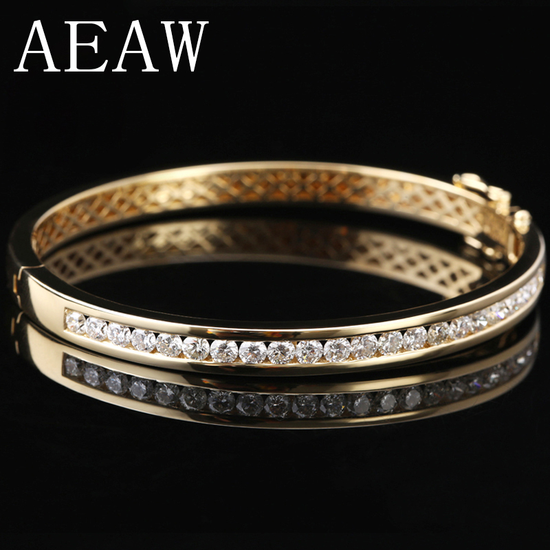 AEAW 14K 585 Yellow Gold 2.2 CTW F Color 20pcs 3mm Moissanite Bangle Bracelets Lab Diamond Bangle for Women Fine Jewelry aeaw lab grown diamond moissanites engagement bangle solid 10k white gold bracelets for women wedding fine jewelry