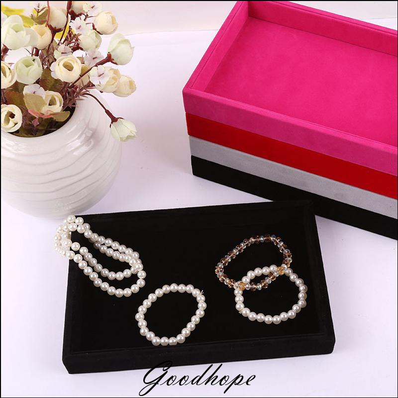 Superior Portable Jewelry Display Flat Velvet Tray Necklace Ring