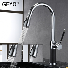цена на GEYO Kitchen Faucets Silver Single Handle Pull Out Kitchen Tap Single Hole Handle Swivel 360 Degree Water Mixer Tap Mixer Tap