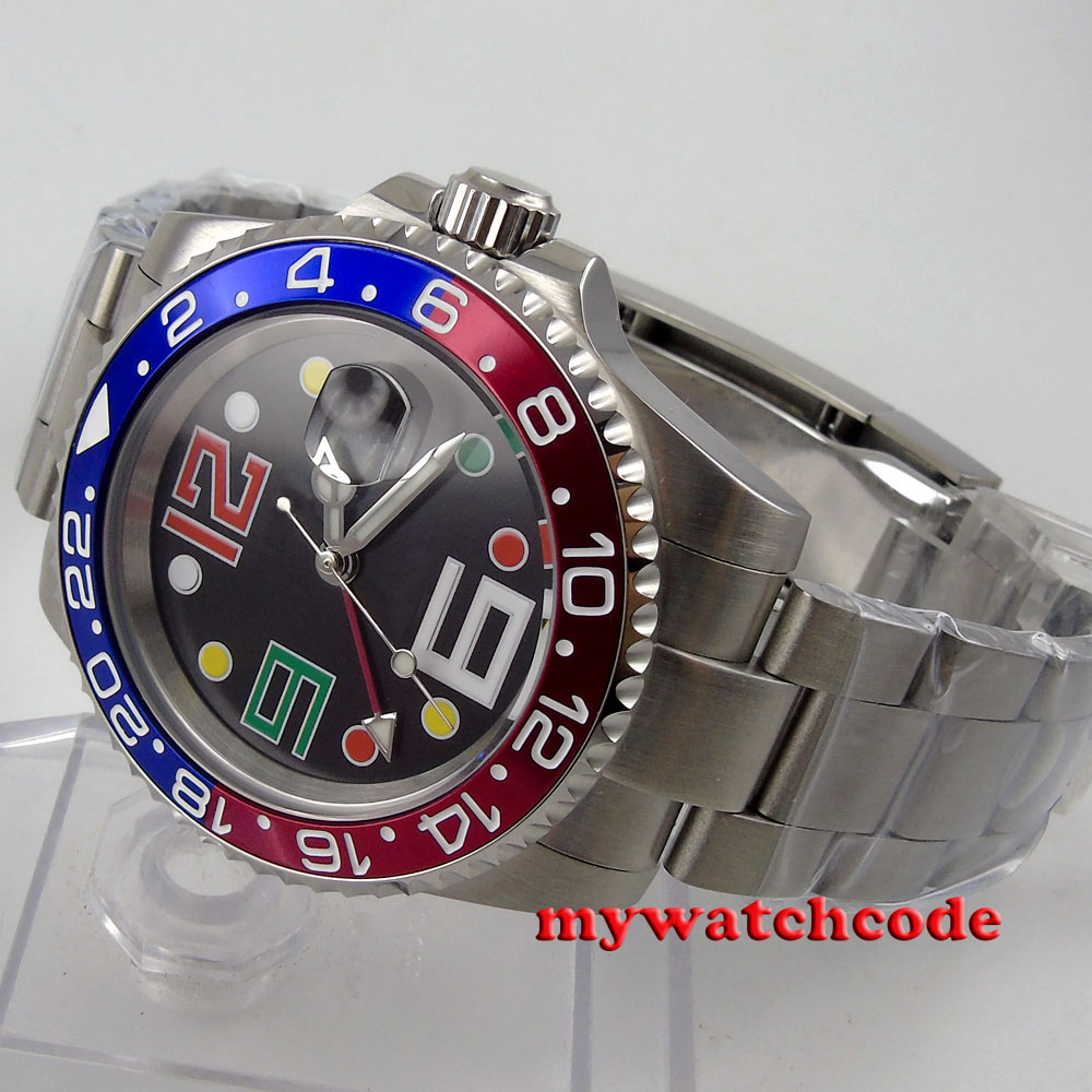 лучшая цена 40mm bliger black sterile dial date window sapphire glass GMT automatic movement men watch B48