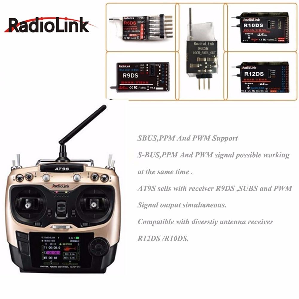 Radiolink AT9S 2.4G 9CH ระบบเครื่องส่งสัญญาณ R9DS ตัวรับสัญญาณ AT9 รีโมทคอนโทรล update vision สำหรับเฮลิคอปเตอร์ RC quadcopter-ใน ชิ้นส่วนและอุปกรณ์เสริม จาก ของเล่นและงานอดิเรก บน   3