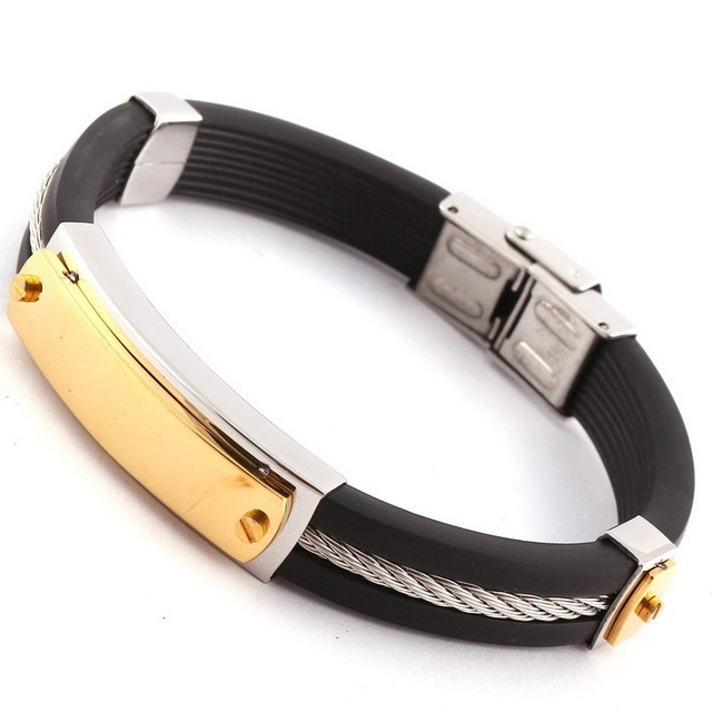 Mens Black Silicone Bracelets 14k Gold Plated Stainless Steel Rubber