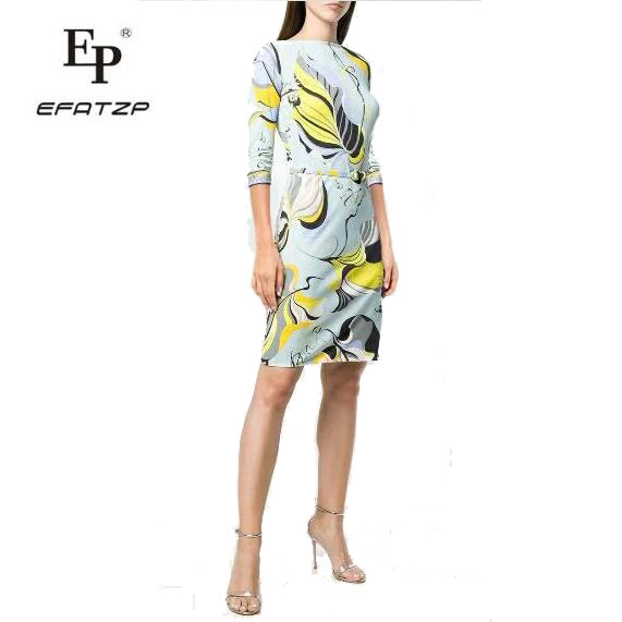 New Fashion 2018 Designer Dress Women s 3 4 Sleeves flowers Print XXL Stretch Jersey Slim