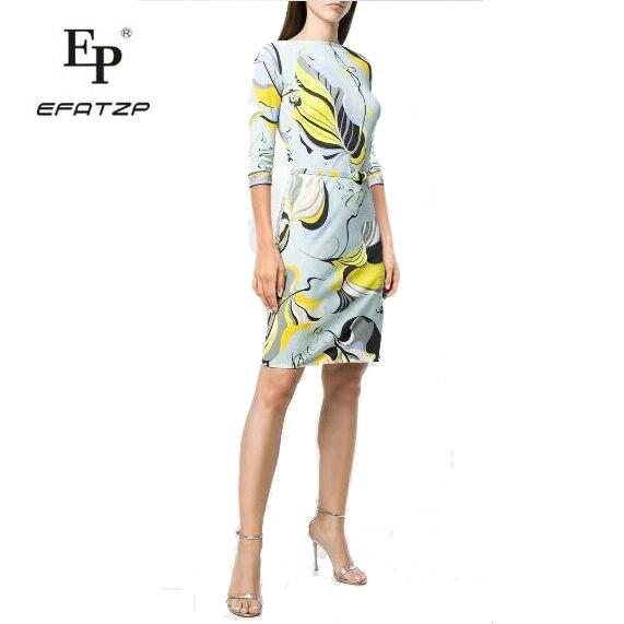 Di nuovo Modo 2018 Del Progettista Del Vestito delle Donne 3/4 Maniche fiori di Stampa XXL Elasticizzato Jersey di Seta Sottile Abito Da Giorno-in Abiti da Abbigliamento da donna su  Gruppo 1
