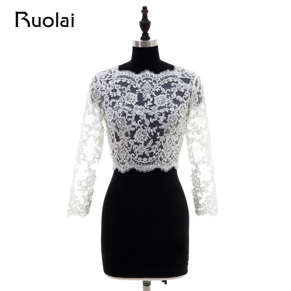 Real Picture New White/Ivory Color Sleeves Lace Boat Neck Appliques Wedding Bolero Lace Wraps Wedding Jacket Bridal Cape FWJ4