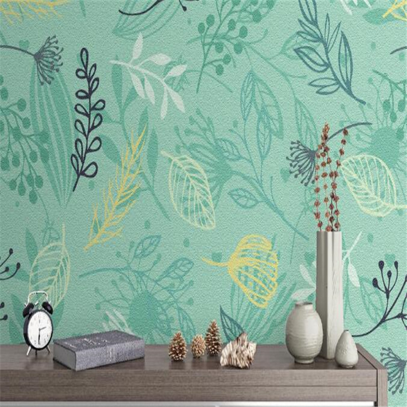 Pastoral Fresh Wallpapers for Walls 3D Nature Wall Murals Blue Leaf Wall Papers Home Decor Walls Living Room Bedroom HD Murals modern embossed 3d wallpapers rolls luxury striped wallpapers non woven desktop wall papers home decor bedroom walls coverings