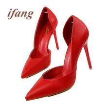Ifang Summer New Shoes Woman Pointed Toe Sexy Women Party Wedding Nightclub Shallow Mouth Cut Out Two Piece Thin High Heel Pumps
