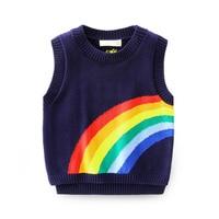 2017 New Design Spring Autumn Boys Knitted Rainbow Pattern Vest Baby Boy Casual Sleeveless Outerwear Sweater Waistcoat Kids Vest
