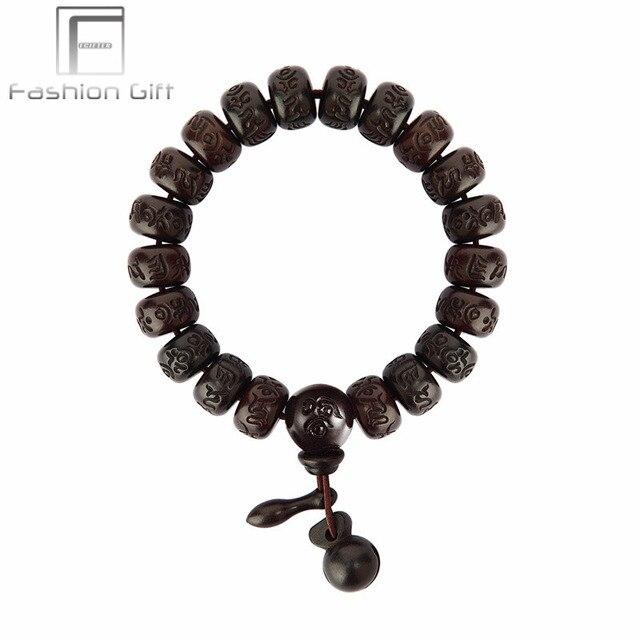 Ethnic Tibetan Buddha Bracelet Male Female Lightning Wood Prayer Beads Meditation Men Women Wrist Wooden