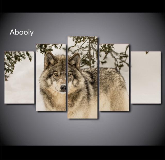 5 Stuk Canvas Wolf Canvas Schilderij Afrikaanse Dier Spuiten Voor ...
