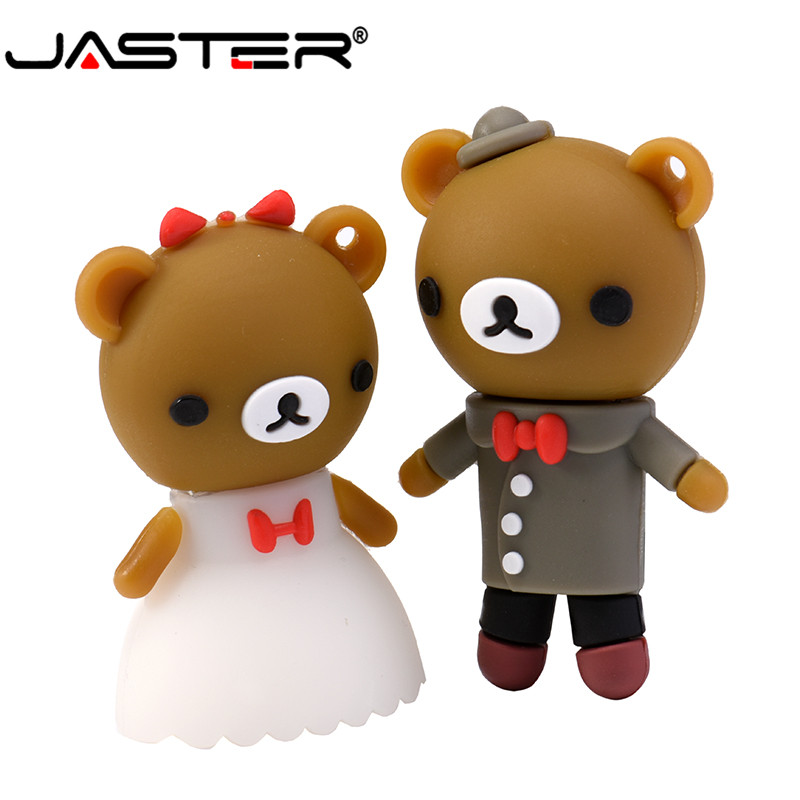 JASTER Hot Fashion Creative Cartoon Wedding Bear Usb 2.0 Real Capacity Flash Drive 4GB / 8GB / 16GB / 32GB / 64GB Memory Stick