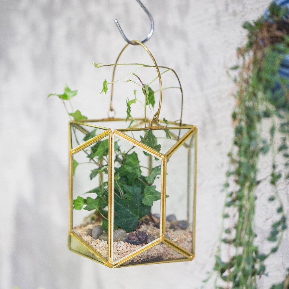 Hanging Candle Lanterns Flower Tower Lantern Wedding: Hanging Brass Copper Gold Echelon Geometric Glass Display