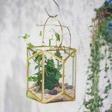 Hanging Brass Copper Gold Echelon Geometric Glass Display Terrarium Lantern Succulent Plant Wall Hanging Flowerpot with Handle
