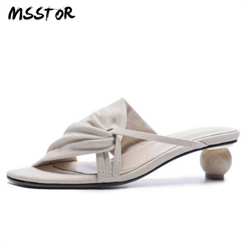 MSSTOR Strange Style Black Slippers Women Peep Toe Kid Suede Fashion Casual Summer Shoes Women Narrow Band Pumps Shoes Women