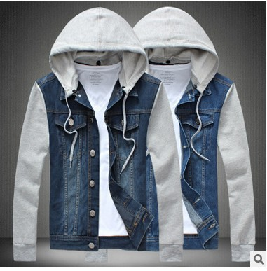 Mens Vintage Denim Jeans Jackets Denim Detachable Hooded Short Coat Blazers Outwear Plus Size