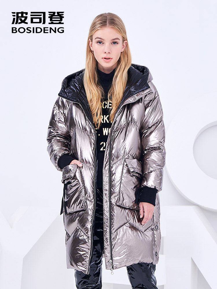 BOSIDENG new winter 90% duck   down   jacket women   down     coat   long parka hooded metal material fabric light waterproof B80142586DS