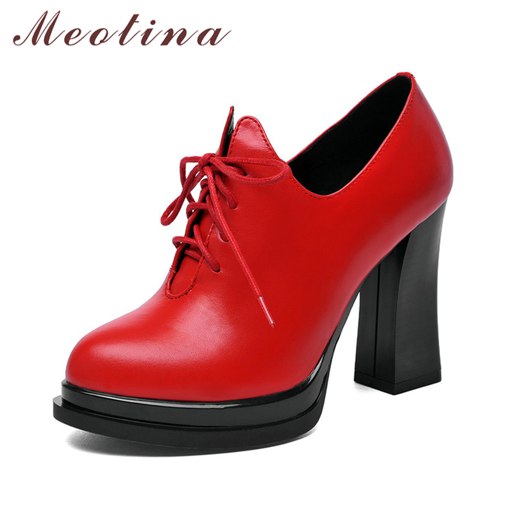 Meotina Women Genuine Leather Boots Platform High Heel Ankle Boots Lace Up Leather Boots Winter Round Toe Autumn Shoes Red Black round toe autumn shoes high heel platform black casual lace up 2017 front ankle boots booties patent leather female ladies new