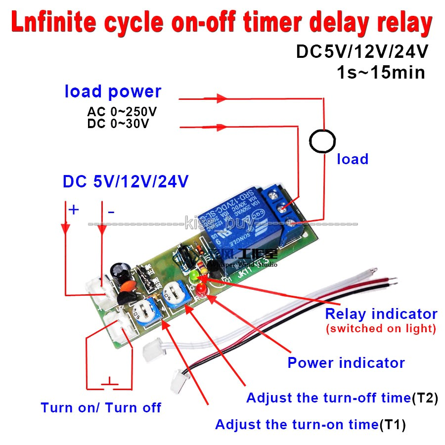 15 Minutes Adjust  DC 12V Infinite Cycle Delay Timing Timer Relay ON OFF Switch Loop Module