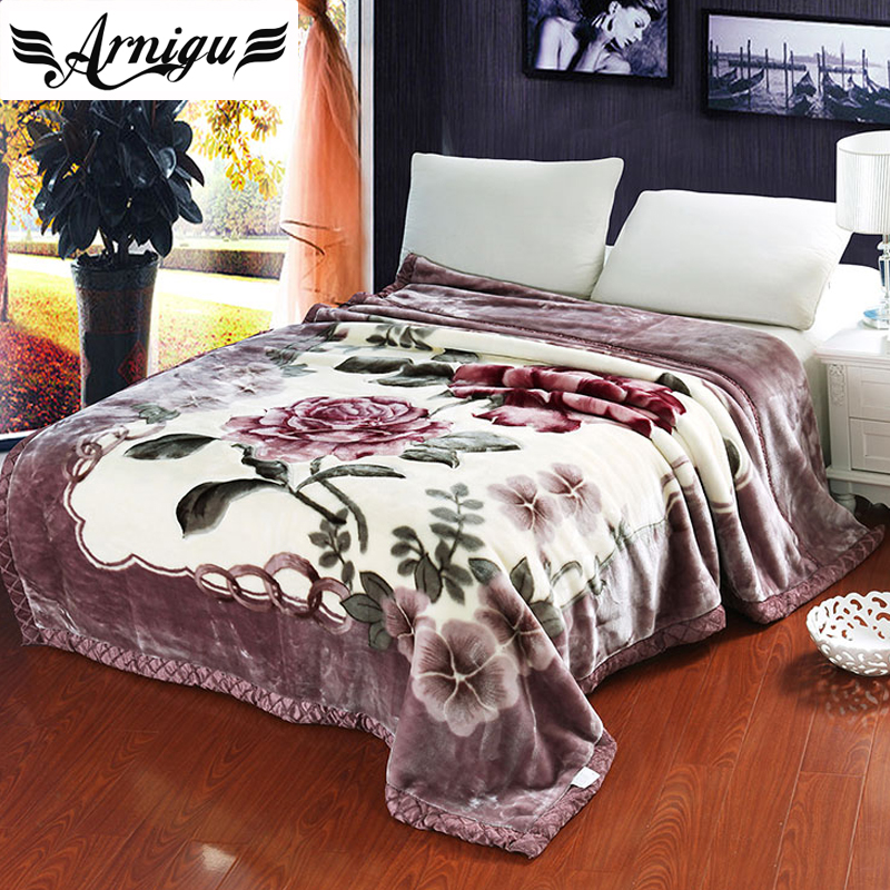 ARNIGU Rose printing light purple Thick Blankets Twin Double Queen size thicken Raschel plaids warm Bed sheet Winter sofa Throw zhh warm soft fleece strip blankets double layer thick plush throw on sofa bed plane plaids solid bedspreads home textile 1pc