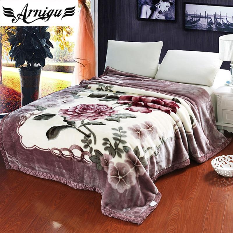 arnigu rose printing light purple thick blankets twin double queen size thicken raschel plaids. Black Bedroom Furniture Sets. Home Design Ideas