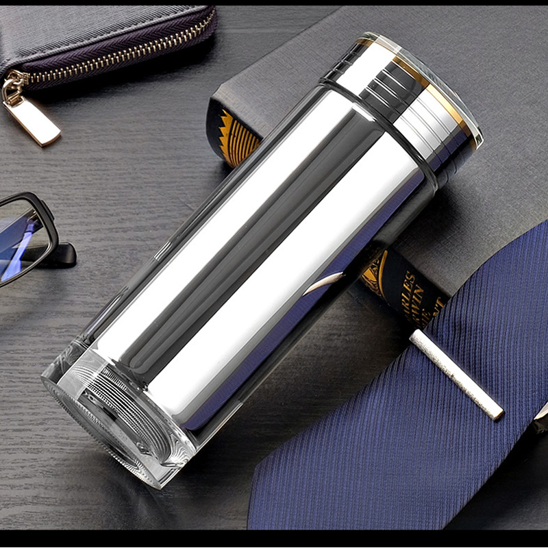 Bouilloire isolante verre argenté câble de température Intelligent chargeant la bouteille d'eau antidérapante 360 ML