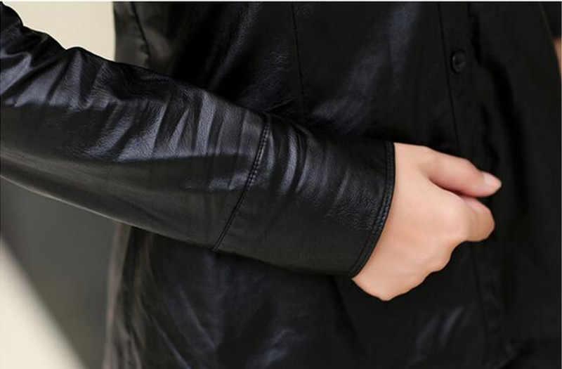 Винтажная Весенняя рубашка из искусственной кожи, женские блузки, модные повседневные женские рубашки с длинными рукавами, осенне-зимние черные рубашки DM2365