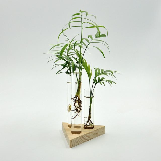 4pcs/set Glass Vase 3 Test Tubes Clear Flower Bottle with 1 Wooden Base Floral Hydroponic Transparent Vase Home Decor Ornament