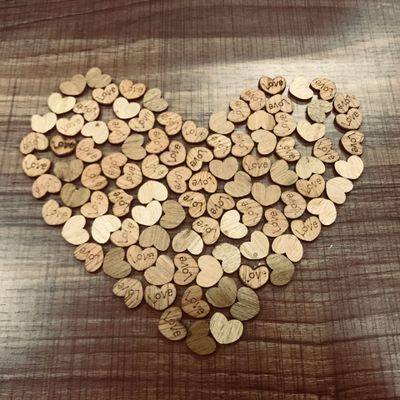 100pcs/lot Love Wooden hearts heart of wood vintage rustic Wedding decor home birthday decoration Party Diy craft supplies